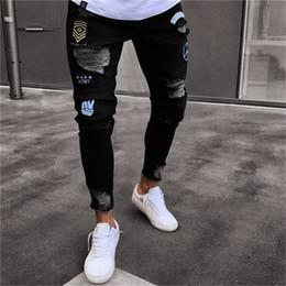 Deutschland Männer Stilvolle Zerrissene Jeans Hosen Biker Dünne Dünne Gerade Ausgefranste Denim Hosen Neue Mode Dünne Jeans Männer Kleidung Q190415 cheap new man stylish jeans pants Versorgung
