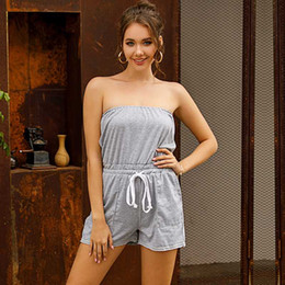 Baumwoll-tuniken für den sommer online-Frauen-Sommer-weg Schulter Bodycon Playsuits Jumpsuits Tunika Solide Lace-up Strapless Strampler Shorts Cotton Playsuit Overalls
