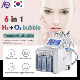 Máquina facial do aqua on-line-6in1 H2-O2 Hydra dermoabrasão do Aqua Peel RF Bio-lifting Spa Facial Hidro água Microdermabrasion Facial oxigênio spray Martelo fria máquina de