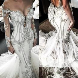 2019 robes pakistanaises modernes 2020 manches longues robes de mariée sirène paillettes cristal perlé luxe plus la taille robe de mariée balayage train pure bijou cou robe De Novia