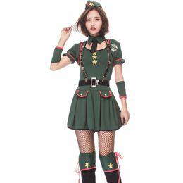 Kleid einheitliche armee online-Grüne Frauen Military Special Agent Kostüm Sexy Polizeiuniform Halloween Cosplay Instructor Anzug Anime Army Officer Mini Kleid