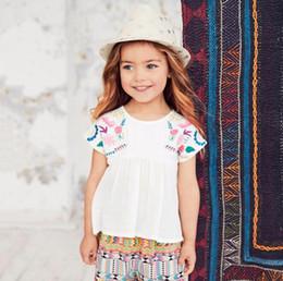 niñas vestidos estilos de bordado Rebajas Blusa sin mangas de algodón vestido bebé camisetas niñas camiseta niños ropa estilo clásico bordado de algodón ropa de diseñador infantil niñas BY0953
