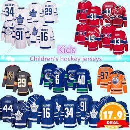 Maillot de hockey enfant en Ligne-Maillot de hockey pour enfant Maple leafs de Toronto Canadiens de Montréal Canadiens de Vancouver Canucks d'Edmonton Oilers 97 chandails de hockey pour enfants Connor McDavid