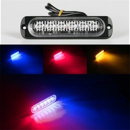 luz de faro de advertencia de coche Rebajas Estilo del automóvil Blanco brillante Amarillo Rojo Azul Ámbar 6 LED Car Truck Van Beacon Strobe Advertencia Parpadeando Parrilla de emergencia Luz de policía 4.7