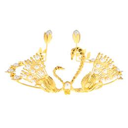 2019 monili della perla del pavone Set di capelli di pavone corona d'argento placcati in oro con diamante gioielli da sposa perla damigella d'onore copricapo monili della perla del pavone economici