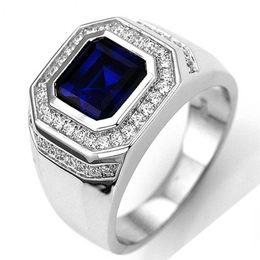 Vintage luxo azul cristal zircão grande zircão embutidos dos homens anel de moda jóias anéis de dia dos namorados anéis de casamento do sexo masculino de