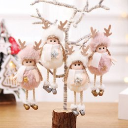 angel girl pendant Promo Codes - 2020 New Year Christmas Angel Girl Plush Dolls Christmas Tree Ornament Pendant Party Decoration for Home