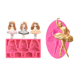 Милые украшения кухни онлайн-Elegant Ballet Design Cute Lovely Girls Silicone Mold Chocolate Fondant Cake Decoration Tools Cupcake Mould Kitchen Bakeware