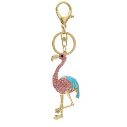 charmes de bijoux flamants Promotion Llaveros Cute Chaveiro Flamingo Keychain Animal Car Key Chain Ring Bag unisex Diamante Pendant Jewelry Charm Bag Car gift LJJJ40
