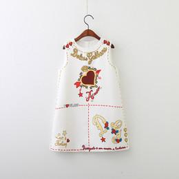 2019 vestido de conejito rojo Everweekend Girls Sweet Vintage Love Print Vestido de Fiesta Moda Occidental Vintage Blanco Color Negro Lindos Niños Vestidos de Moda Clásica