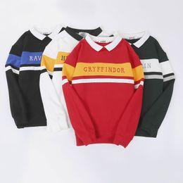 schulpullover Rabatt Winter Designer Herren Harry Potter Joint Name Paar Sweatshirts Schule Streifen Serie Briefe Nähen Gestickten Pullover
