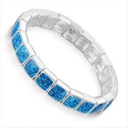 2019 blaue stein silberne schmucksachen Synthetische Blue Fire Opal Square Stein Armbänder Armreifen für Frauen Silber Farbe Armband Modeschmuck Valentinstag Geschenk rabatt blaue stein silberne schmucksachen