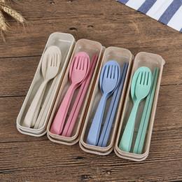 Baguettes en plastique en Ligne-Vaisselle en plastique portable baguettes en plastique cuillère cuillère Set New Design respectueux de l'environnement 4 couleurs réutilisables en plastique paille couverts