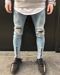 2019 più jeans designer di dimensioni Jeans da motociclista hip-hop Motociclisti da uomo Jeans da uomo Designer Denim Pantaloni denim blu chiaro Plus Size più jeans designer di dimensioni economici