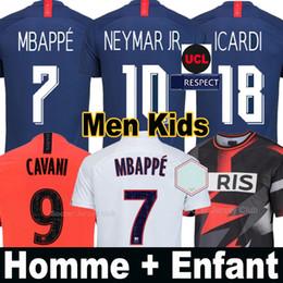 Uniforme de fútbol femenino online-Camiseta equipación PSG fútbol Paris Saint Germain NEYMAR JR MBAPPE SARABIA ANDER HERRERA CAVANI AIR JORDAN 2019 2020 portero campeones conjuntos adultos hombres mujeres niños kits