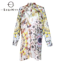 summer shirts designs flowers print Promo Codes - SEQINYY 100% Cotton Shirt 2019 Summer New Fashion Design Colorful Flowers Ink Printed Loose Straight Top