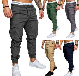trousers red black men Coupons - Mens Joggers Sweatpants Casual Men Trousers Overalls Military Tactics Pants Elastic Waist Cargo Pants Fashion Jogger Pants