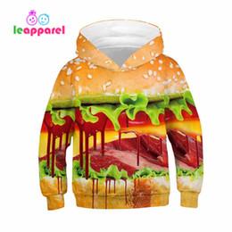 jersey de hamburguesa Rebajas Otoño Invierno Manga larga Niñas Niños Sudaderas con capucha Divertido 3D Dlicious Beef Hamburger Print Pullover Sudadera de Halloween Sudaderas con capucha para niños