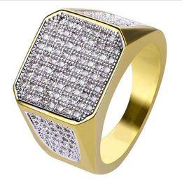 Модные мужские обручальные кольца хип-хоп со льдом Bling Bling полный горный хрусталь кристалл квадратное кольцо для мужчин Dropshipping Anillos от Поставщики дропшиппинг кольцо