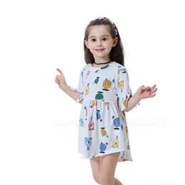 d1a8fc22bb5d Kids Baby Girls Animal Dress Cartoon Round Neck Short Tassel Sleeve  Geometry Toddler Girl Casual Cotton Irregular Dresses
