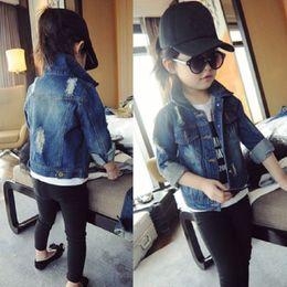 9685b6d69884e denim summer jackets Canada - Korean Girl Hole Lapel Washed Jeans Clothing  Children  039
