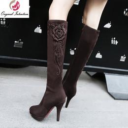 ccccd883d81844 Intention originale femmes genou bottes bottes à talons hauts chaussures  femme bout rond plate-forme brun noir chaussures bleues femme taille 4-12  abordable ...