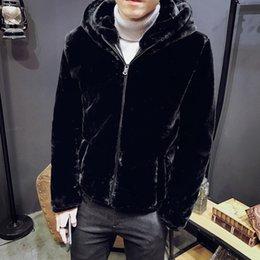 cappotti di visone da uomo Sconti Faux visone cappotti uomo caldo cappotto  con cappuccio maschio inverno 1b011ba46f9