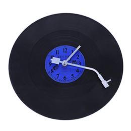 2019 мраморный аккумулятор ABLA Quartz Round Retro Wall Clock Art Design Kitchen Living Room Home Decoration  Record Clock Blue + Black Plastic