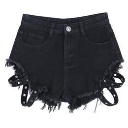 2020 short femme jean Womens Rivet atadura Mini Denim Shorts Mulheres Short Jeans Preto Sexy cintura alta Mulher Shorts Verão Femme Algodão short femme jean barato