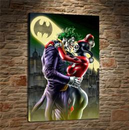 pintura acrílica paisajes marinos Rebajas Harley Quinn y Joker Kissing, impresión en lienzo HD Nueva decoración de arte Pintura de arte / (Sin marco / Enmarcado)