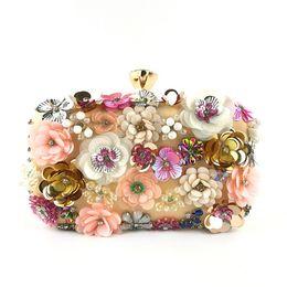 Bolso con cuentas de moda online-Fiesta de la boda del diseñador de moda La oferta de tarde de las mujeres bolsas de dama hecha a mano con cuentas Flor Bolsa banquete del bolso de hombro empaqueta la cartera