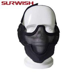 protetor de airsoft Desconto Máscara de Airsoft Máscara de Sobrevivência Meia Máscara de Sobrevivência Ao Ar Livre Caça Protetora Máscara de Paintball Partido Tático Máscara