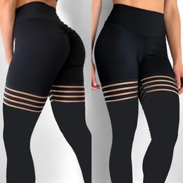 2019 calças de poliéster brilhantes Mulheres Leggings Meias Emendados Malha Preta Leggins Oco Elastic Workout Grosso Ginásio Yoga Fitness Leggings Skinny