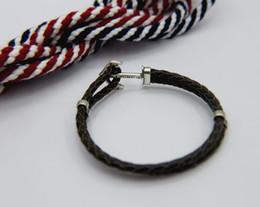 Sterling Silver S925 Fille Bracelet De Mode Ladys Amour Noir En Cuir À La Main Wrap Mâle Ancre Bracelet Bracelets ? partir de fabricateur