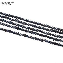 wholesale small black beads Coupons - Cultured Baroque Freshwater Pearl Beads Nuggets Black 2.8-3.2mm Small Loose Pearl For Handmade Birthday Jewelry Gift Accessory