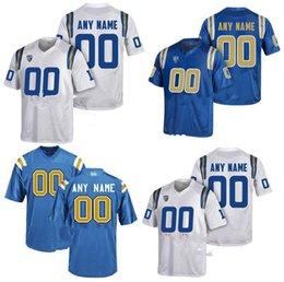 jersey patriota negro Rebajas Custom Custom UCLA BRUINS College jersey Hombres Mujeres Jóvenes Niños Personalizado Cualquier número de cualquier nombre Cosido Blanco Azul Camisetas de fútbol