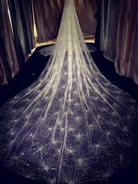 Accessori di velluto dei capelli di nozze d'annata online-vintage 2019 Sparkling Golden Wedding Veils 3M Long Wedding Bridal Hair Accessories Wedding Accessories Bridesmaid Veils Bridal Accessories