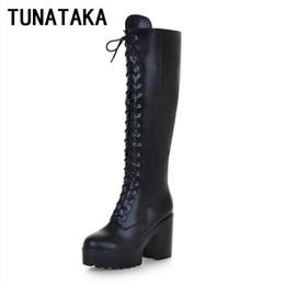 e826626de93a Women s Lace Up Knee High Boots Thick Bottom High Heel Platform Combat Boots  Black Brown Blue Plus Size discount platform combat boots