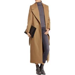 Abiti di lana online-XL casaco feminino 2018 UK Donna Plus size Autunno Inverno Cassic Simple Wool Maxi Long Coat Donna Robe Capispalla manteau femme