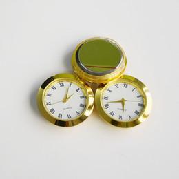 Inserções de relógio de quartzo on-line-Atacado 37mm DIY Relógio Movimento Relógios De Metal de Ouro Liga de Zinco Rodada Relógio de Quartzo Inserir Roman Mumerals Trompete Conveniente Relógio Acessórios