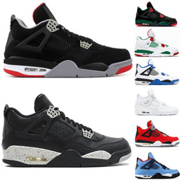 newest cf3de 51cf7 Nike Air Jordan Retro 4 4s Hommes Chaussures de basketball 4s Pure Money  Bred Fire Rouge Blanc Ciment Redevance de haute qualité Sneakers Chaussures  de ...