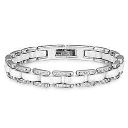 Versão larga única linha de diamante preto e branco casal de cerâmica titanium aço pulseira de jóias amor pulseira para mulheres homens presente de