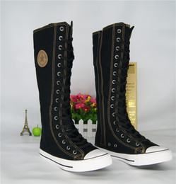 Botas de elevador on-line-Chegada nova meninas lace-up joelho botas de cano alto estudantes do sexo feminino botas de lona elevador botas casuais senhoras senhoras sapatos de Palco sapatos de salto plana