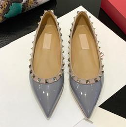 2019 zapatillas negras ¡rebaja! tamaño 35-43 genuina del perno prisionero del cuero bailarinas azul negro nude amarillo rojo rosa rosa de la pista de lujo de diseño de moda para mujer clásica