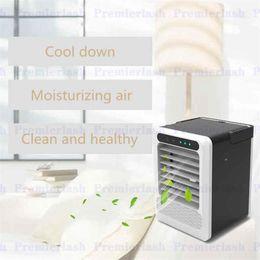 ventilador de refrigeración Rebajas Aire acondicionado USB Ventilador Mini Refrigerador de aire Refrigeración portátil Aire acondicionado portátil con 7 colores de luz LED para el hogar