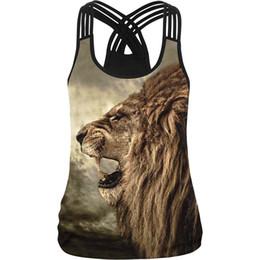 Cima del serbatoio del leone online-Freddo ! Lion Print Women Camisole 10 Stili 3d Stampato Nero Bianco Sexy Vest Donna Casual Palestre Fitness Imbracatura Elastica Canotte Y190516