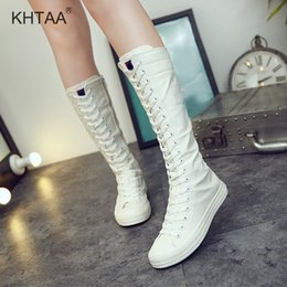 863ad44c65f Flat Platform Mid Calf Women Boots Plus Size Zipper Lace Up Canvas Female  Shoes High Top White Sexy Slim Footwear For Women 2018