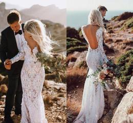 2019 vestido de noiva pequeno da sereia do querido Sexy Aberto de Volta Sereia Vestidos de Casamento 2019 Boho Mangas Compridas V Neck Lace Nupcial Do Casamento Vestidos