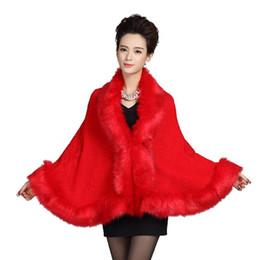 Vestidos de casamento poncho on-line-Grama de couro das mulheres gola de pele de raposa poncho capa de noiva nupcial do casamento manto capa xale capa de lã de lã colete casaco de pele DN001
