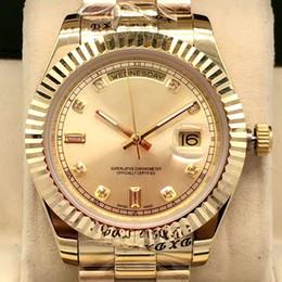 2019 bracelet de diamant en gros Diamant montre de luxe en gros montre DAY DAITE Double calendrier 41MM mens montres en acier inoxydable lunette bracelet montres cadeau préféré bracelet de diamant en gros pas cher